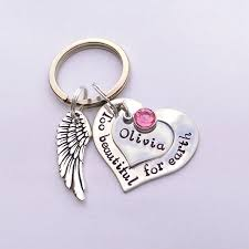in memory of gifts personalised personalised memorial keyring beautiful for earth