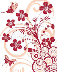 flower background with butterfly and circle element for design