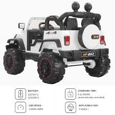 jeep power wheels black white 12v kids ride on cars electric battery power wheels remote