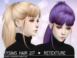 the sims 4 cc hair ponytail aveira s sims 4 skysims hair 217 retexture 60 colors standalone