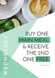 design poster buy buy one main meal get the 2nd free design with green shapes