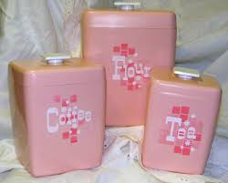 pink kitchen canisters retro vintage pink plastic kitchen canister set by thatwaswhat