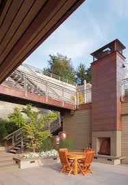 Outdoor Fireplace Chimney Cap - copper chimney caps patio contemporary with bridge connecting
