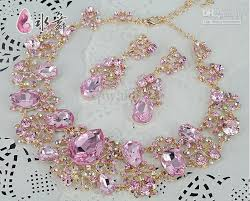 bridal set necklace earring images Pink with gold bridal necklace earring set rhinestone party jpg