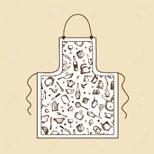 apron with kitchen utensils sketch for your design royalty free
