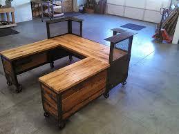 Reclaimed Wood Reception Desk Custom Reception Desk Reclaimed Wood U0026 Steel Work Station U