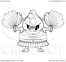 cartoon clipart of a black and white chubby cheerleader vector