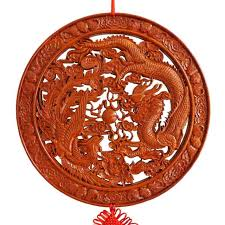 yi mirror pendant mahogany wood carving