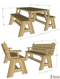 Plans For Patio Table by Perfectly Bench Converts To Picnic Table 30 With Additional