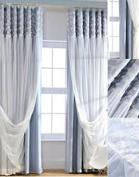 Lace Fabric For Curtains Blue Blackout Fabric And White Lace Curtain