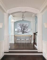 beadboard ceiling blue and white color scheme crown molding light