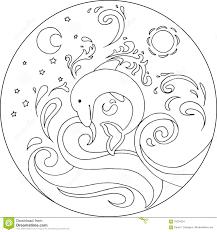 coloring dolphin mandala stock vector image 70234554