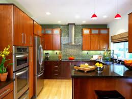 Kitchen With Stainless Steel Backsplash Kitchen Style Asian Modern Kitchen Bamboo Flooring Red Hanging