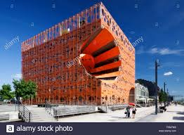 the orange cube building le cube orange in the la confluence