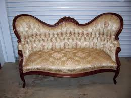 Antique Chaise Lounge Sofa by Vintage Style Victorian Two Seater Sofa With Gold Fabric Color And