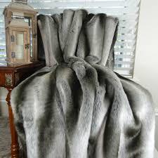 Faux Fur Throw Blanket Exotic Gray Chinchilla Faux Fur Throw Blanket U0026 Bedspread