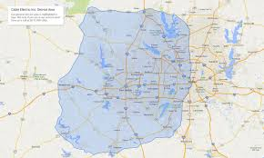 Zip Code Map Fort Worth by Cable Electric Service Area Boundary Map