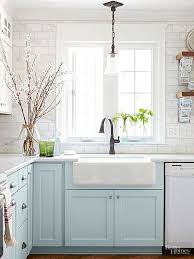light blue cabinets kitchen 10 stunning farmhouse kitchens with coloured cabinets the