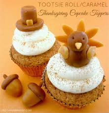 home made thanksgiving decorations tootsie roll caramel thanksgiving cupcake toppers lindsay ann bakes