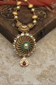 gold antique necklace sets images Dull finish gold antique necklace set south india jewels jpg