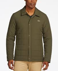 lacoste men s quilted car coat in blue for men lyst