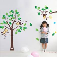 Monkey Nursery Decals Leaf Trees And Monkey Wall Decal