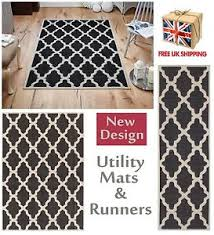 Trellis Kitchen Rug Trellis Flatweave Utility Mats Kitchen Rugs Runners Black