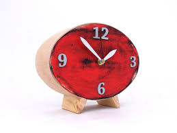 Oval Office Clock by Table Clock Wood Red Clock Ellipse Desk Clock Red Black