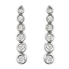 white gold dangle earrings bezel set diamond dangle earrings on 14k white gold marctarian