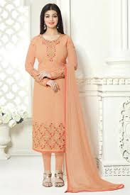 Peach Color by Buy Straight Cut Peach Color Georgette Party Wear Dress Featuring