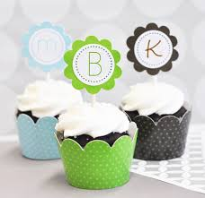 monogram cupcake toppers cupcake wrappers cupcake toppers set of 24