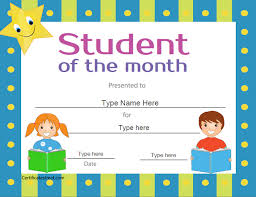 free student of the month certificate templates certificate street