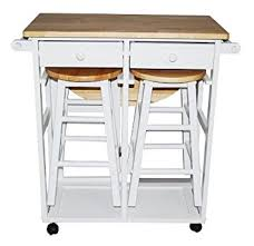 Amazoncom Breakfast Cart W Table And  Stools In White Kitchen - Kitchen cart table
