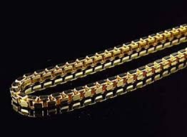 gold box chain bracelet images Dubai collections 18k gold box chain 5mm necklace women men jpg