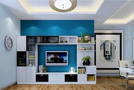 3d minimalist interior white tv cabinet with blue wall download