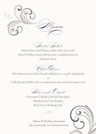 menu templates for weddings printable swirl wedding menu template