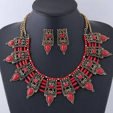 red crystal choker necklace images Jewelry sets for women choker necklace stud earrings set jpg