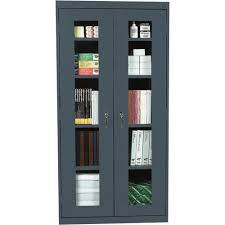 high dark gray steel cabinet with double glass doors and five