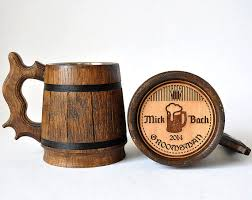 wooden groomsmen gifts personalized wooden mug 0 65 l 22oz groomsmen gift