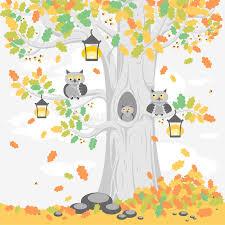 imagenes animadas de otoño una familia de búhos en un árbol en el otoño personajes de dibujos