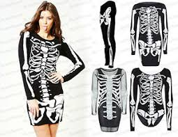 Womens Skeleton Halloween Costume Womens Skeleton Halloween Costume Skull Print Bodycon Stretch