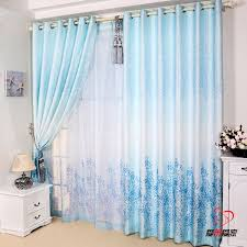 Blue Window Curtains Rustic Style Window Curtains Anti Uv Curtain Finished Product