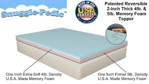 King Size Memory Foam Mattress Topper Amazon Com Snuggle Pedic Patented Double Layer 4lb U0026 5lb