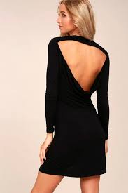 kiss and tell black long sleeve backless dress long sleeve