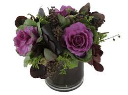purple kale and other greens and berries centerpieces