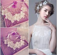 floral hair accessories 2018 fashion flowers pearl garland bridal wedding crown