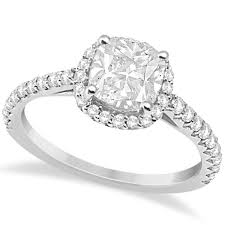 cushion diamond ring halo design cushion cut diamond engagement ring 14k white gold 0 88ct