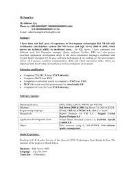 Pl Sql Developer Sample Resume by Sample Resume For Net Developer With 2 Year Experience Resume