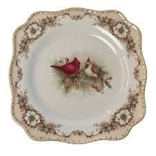 stoneware salad plate cardinal woodland christmas cracker