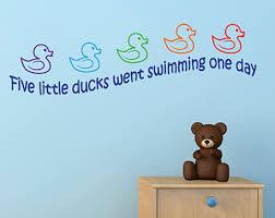 Nursery Rhyme Wall Decals Five Ducks Etsy